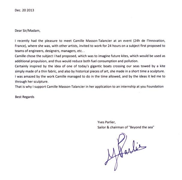 lettre de référence